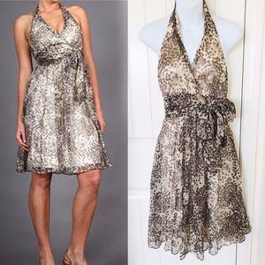 BCBG Brown Gold Halter Silk Chiffon Party Dress